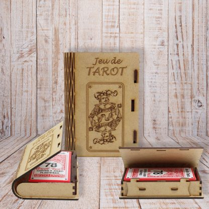 Boite de jeu de tarot, en bois